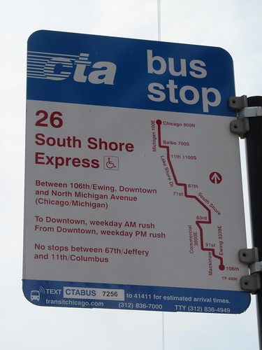 #26 South Shore Express CTA Bus Stop Sign