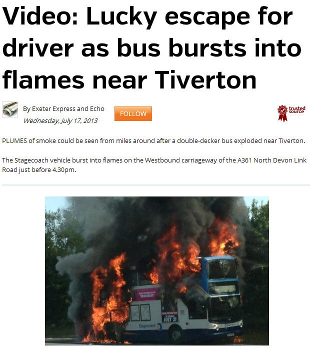 Lucky escape for Stagecoach driver as bus catches fire near Tiverton   Exeter Express and Echo