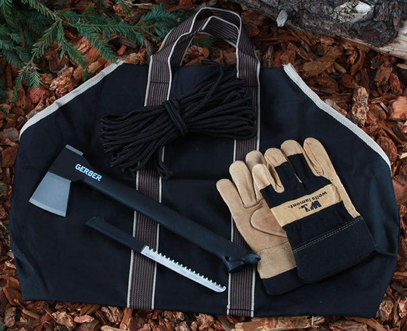 Wood chopping and camping tools including a Gerber combo axe, pigskin gloves, nylon rope, and Kodiak log carrier
