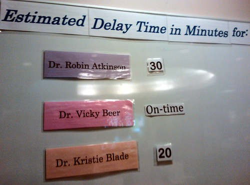 A simple solution to a complex problem - how long will I be in the waiting room for a doctors appointment, Estimated Delay Time in Minutes for three doctors on a Saturday at Virginia Mason,  20 mins, 30 mins, On-time, Lynnwood, Washington, USA by Wonderlane