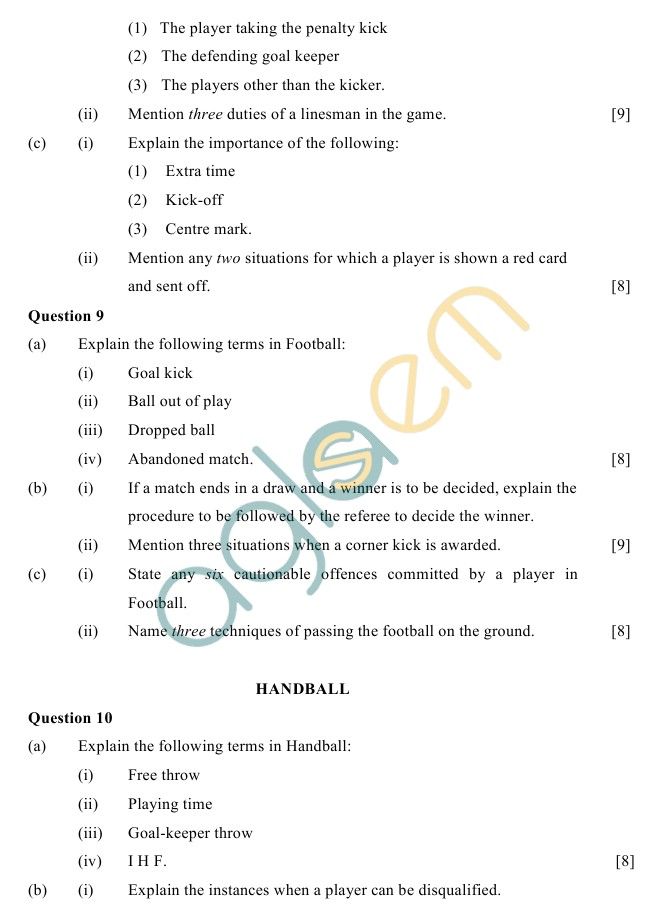 ICSE Class 10 Physical Education Sample Paper