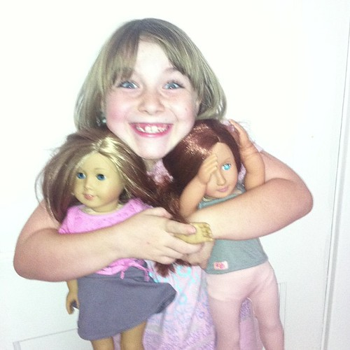 How happy is this girl?  Now her Ayla doll has a new friend. #merrysbday #soblessed