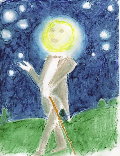 the moon walking with a cane 1