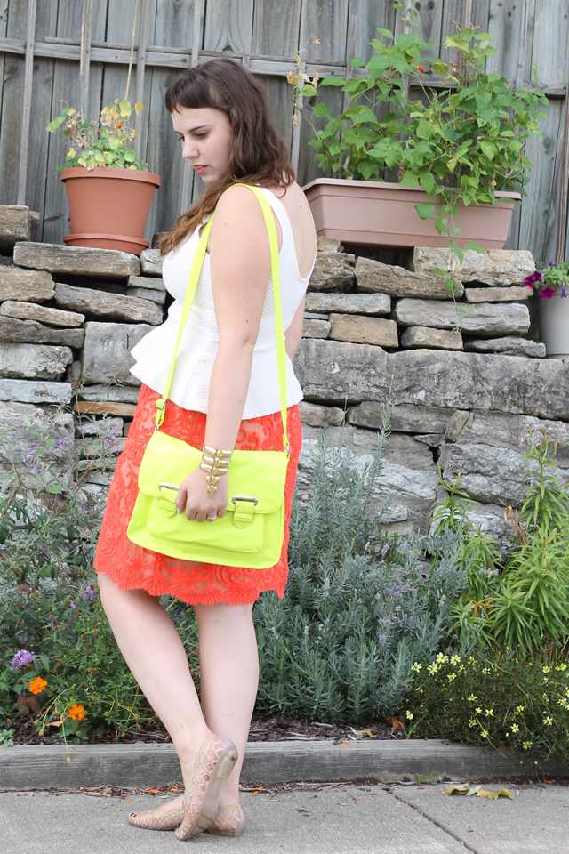 Not Over Neon Outfit: white Anthropologie peplum top, Anthropologie lace neon skirt, vintage jellies, Target neon bag, DIY neon necklace
