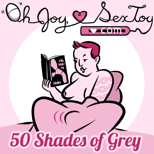 a person reads 50 shades while reaching under the covers