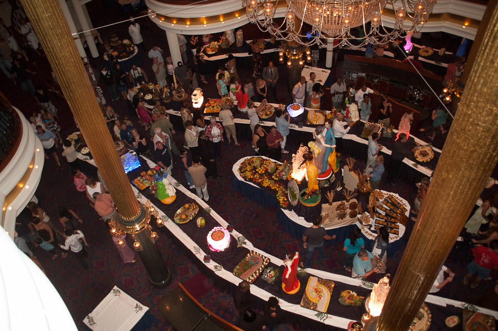 Midnight gala buffet on cruise