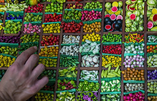 Image of Chatuchak Market near Charoen Pokphand Foods (CPF) Plc. Co. Ltd.. fruit shopping thailand miniature asia market bangkok stall tailandia vegetable fruta mercado southeast miniatura compras jatujak chatuchak verdura sudeste puesto asiatico