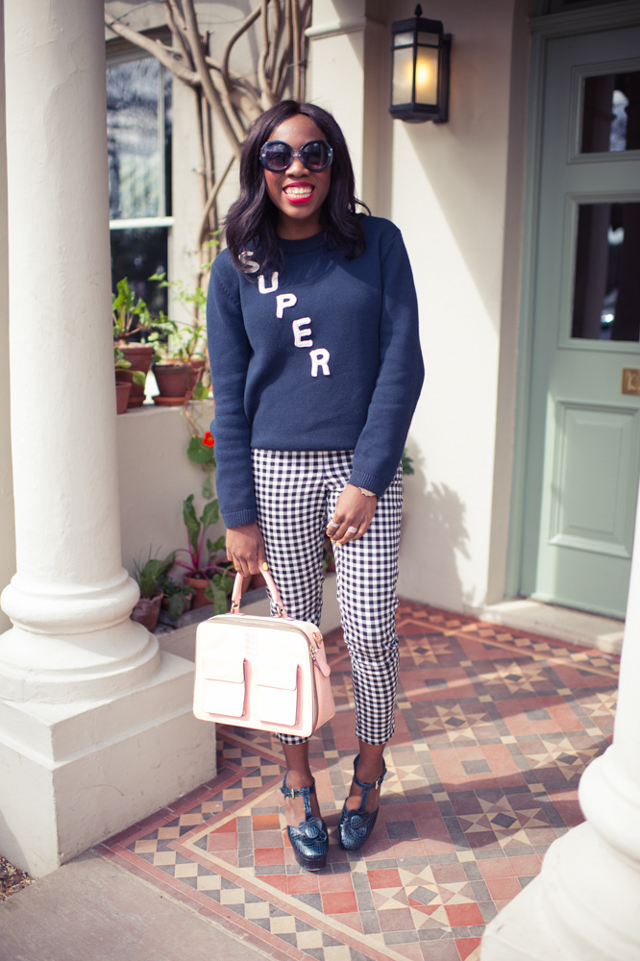 how to wear gingham trousers