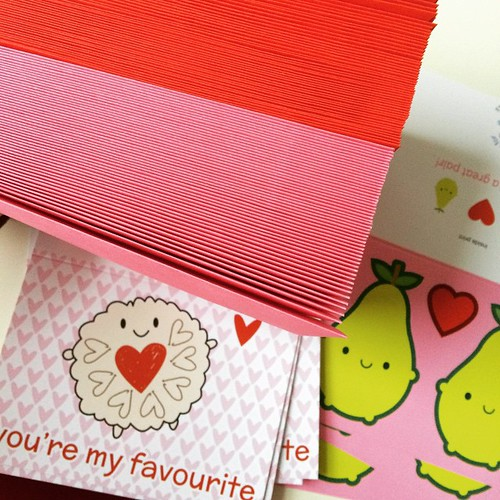 Emergency delivery of pink and red envelopes for the last lot of Valentine's Day orders.