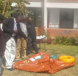 Above-ground plastic Biogas digester and biogas storage bag  introduced by LIVES (Photo:ILRI\LIVES)