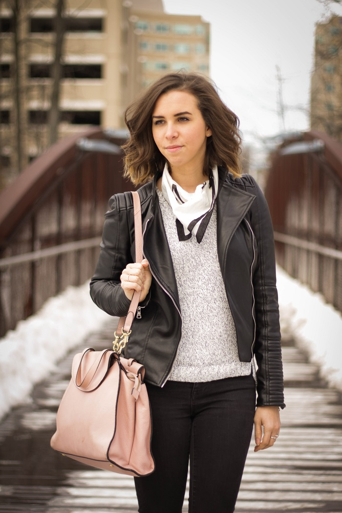 aviza style. fashion blogger. dc blogger. distressed black madewell denim. faux leather zara jacket. kate spade saturday a satchel. madewell handkerchief. 5