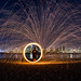 Fun with burning steel wool and the San Diego skyline by slworking2