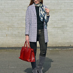 Blue tapestry coat, red tote, grey boots, silk scarf