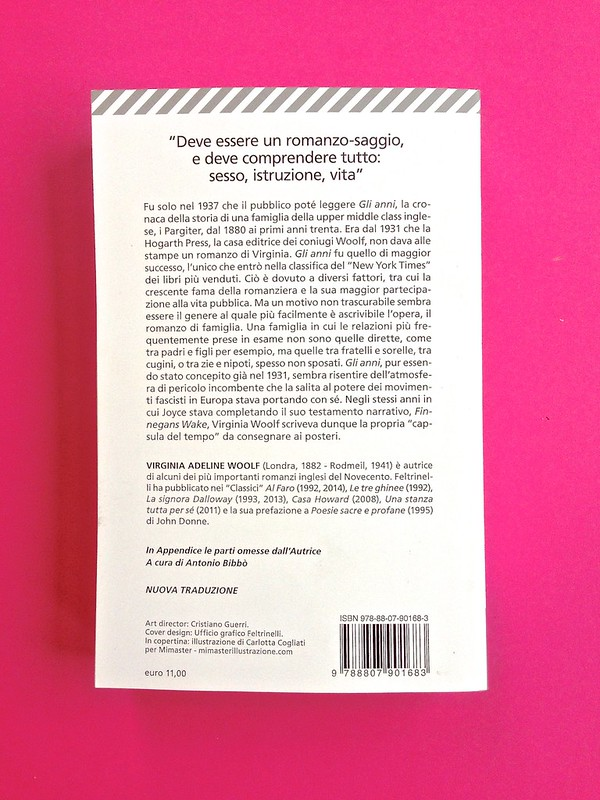 Gli anni, di Virginia Woolf. Feltrinelli 2015. Art dir.: Cristiano Guerri; alla cop.: ill. col. di Carlotta Cogliati. Quarta di copertina (part.), 1