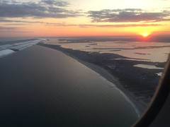 Flying out of JFK at sunset