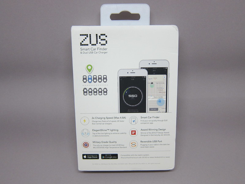 ZUS Smart Car Charger - Box Back