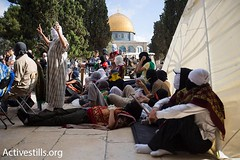 Palestinian youth wait for the police inside Al Aqsa mosque,