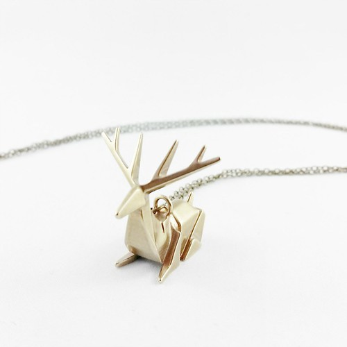 3D Printed Origami Deer Necklace