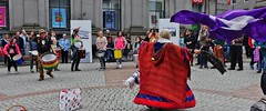 Woman dancing at anti-Trident demo in Aberdeen
