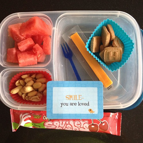 Monday lunch - yogurt tube and a cheese stick. Peanuts, watermelon and Newmans Own graham cookies #kidslunch #easylunchboxes #lunchbox_love #traderjoes