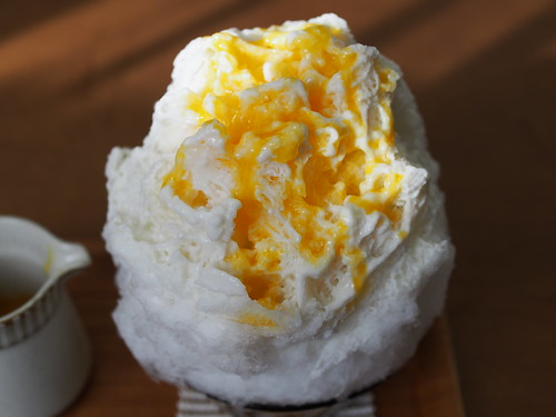 Japanese Shaved Ice Dessert - Coconut Condensed Milk & Mango Sour