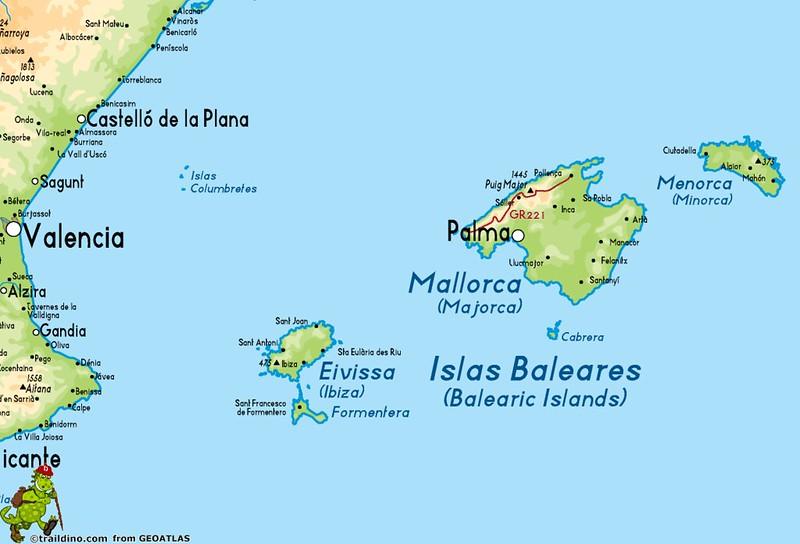 mapa de espanha e ilhas baleares Mapas das Regiões e Comunidades Autónomas de Espanha mapa de espanha e ilhas baleares
