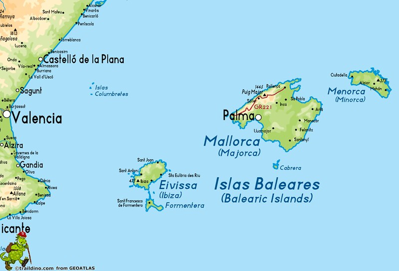 Mapa das Ilhas Baleares