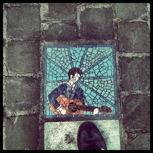 guitar #brussels #pavement #tile #streetart #installation