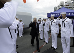 Secretary of the Navy Ray Mabus is rendered honors during his visit to the littoral combat ship USS Freedom (LCS 1) in Singapore May 11. (U.S. Navy photo by Chief Mass Communication Specialist Sam Shavers)