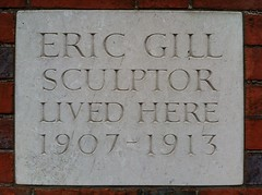 Photo of Eric Gill stone plaque