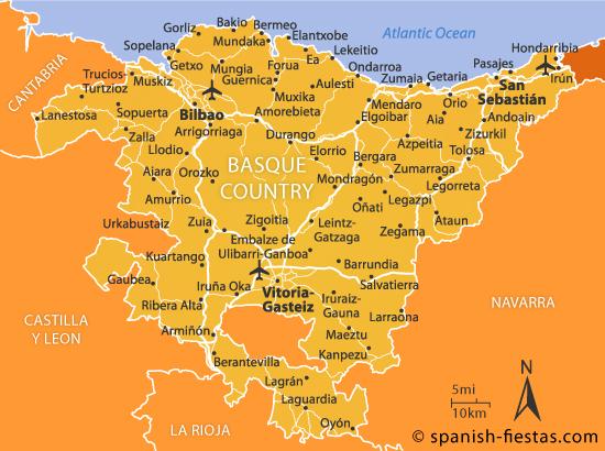 Mapa aeroportos em Pais Basco