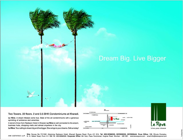 Le Reve, 2 BHK & 3.5 BHK Flats in 22 Story 2 Towers, adjoining Radisson Hotel, Kharadi Hadapsar Bypass, Pune 411 014