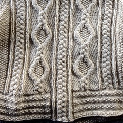 Detail of back Plaits and Links Cardigan