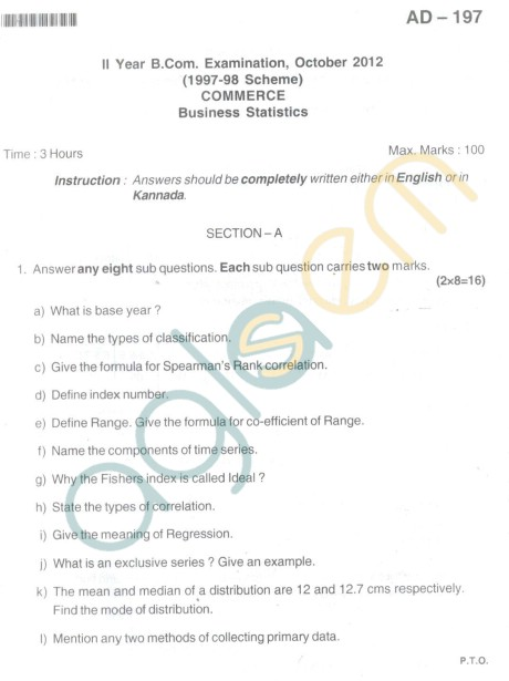 Bangalore University Question Paper Oct 2012: II Year B.Com. - Business Statistics