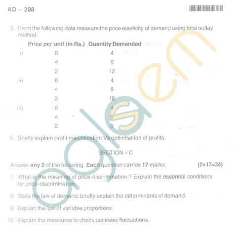 Bangalore University Question Paper Oct 2012 I Year BBM - Business Econamics