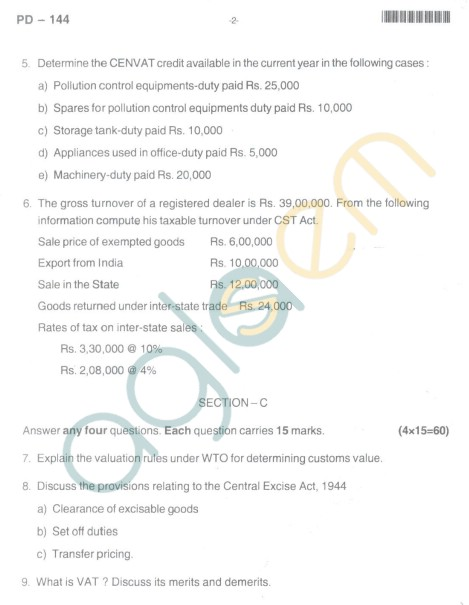Bangalore University Question Paper Oct 2012II Year M.Com. - Commerce Indirect Taxes