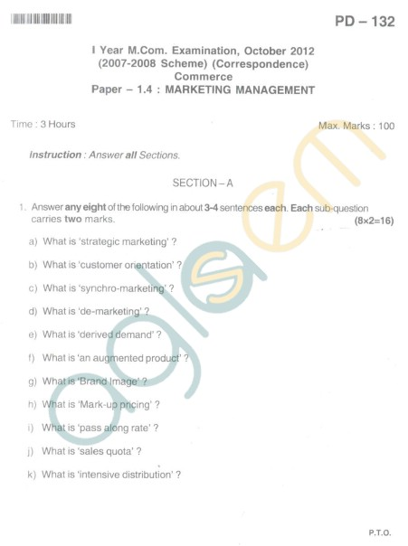 Bangalore University Question Paper Oct 2012I Year M.Com. - Commerce paper - 1.4 : Marketing Management