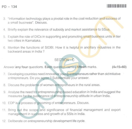 Bangalore University Question Paper Oct 2012 I Year M.Com. - Commerce E-Enterpreneurship Development