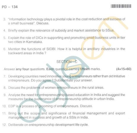 Bangalore University Question Paper Oct 2012I Year M.Com. - Commerce E-Enterpreneurship Development