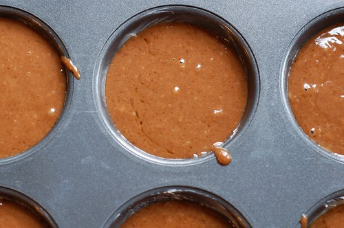 Chocolate cupcake batter in the muffin tin by Eve Fox, Garden of Eating blog, copyright 2013