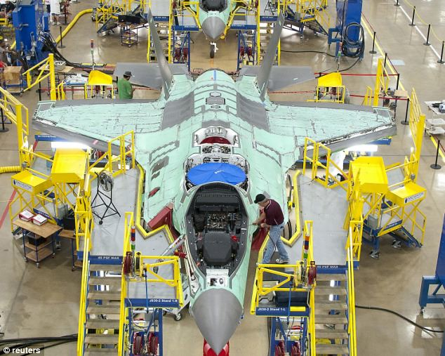 An F-35 fighter taking shape. Each of the jets costs £100million