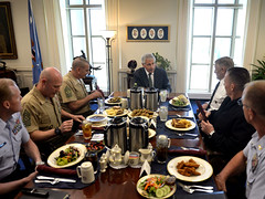 MCPOCG Leavitt meets with SecDef Chuck Hagel - 1
