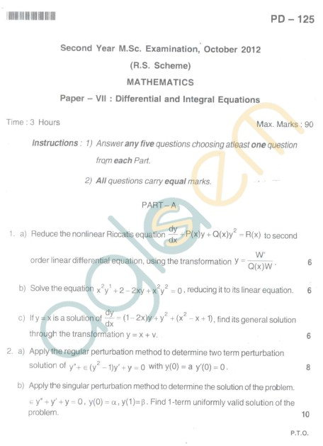 Bangalore University Question Paper Oct 2012:I Year M.Sc. - Mathematics Differential and Integral Equations