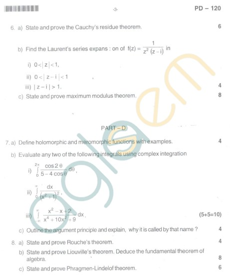 Bangalore University Question Paper Oct 2012:I Year M.Sc. - Mathematics Real And Complex Analysis