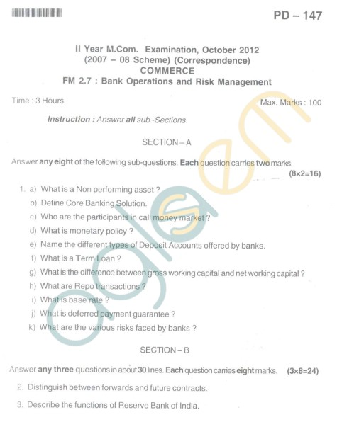 Bangalore University Question Paper Oct 2012 II Year M.Com. - Commerce Bank Operations Anad Risk Management