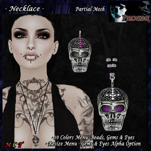 *P* Jeweled Skull Necklace ~Bead-Gem Colors~ (P-MESH)