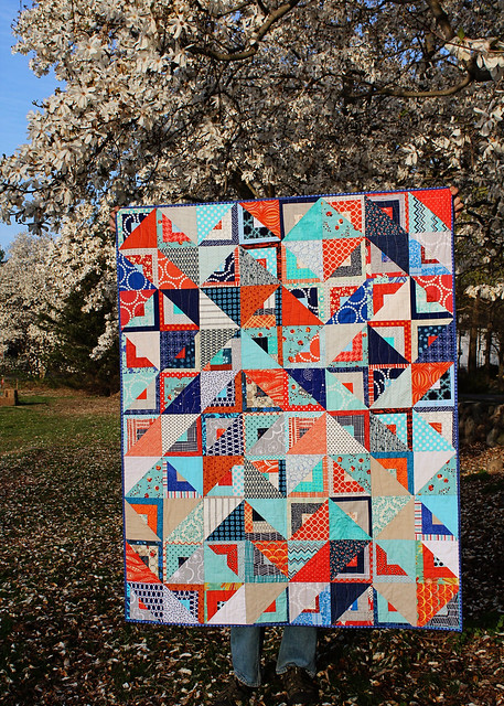 Finished Half Square Triangle/Log Cabin Quilt
