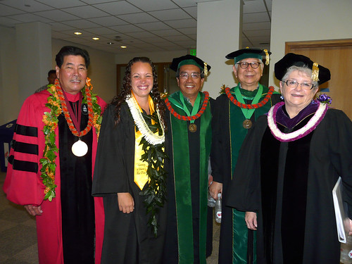 <p>University of Hawaii-West Oahu Chancellor Gene Awakuni, student speaker Kailene Nihipali, UH Regent James Lee, UH Regent Chuck Gee and UH President M.R.C. Greenwood at the UH West Oahu commencement ceremony on May 4, 2013.</p>