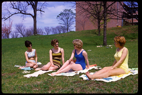 Co-eds Getting A Tan Behind Dorm UMKC 1964
