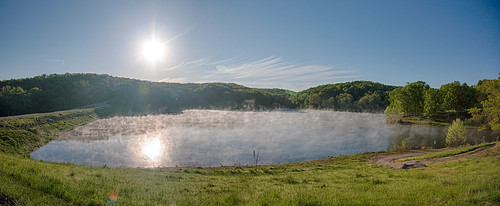 panorama lake water saint fog sunrise louis nikon stlouis sigma panoramic mo missouri flare rays 1020mm stl hdr lightroom uwa d90 loneelkpark f456 colorefex niksoftware dishippy hdrefex jeffhammphotography